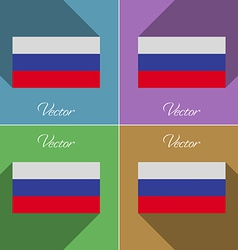 Flags russia set of colors flat design and long vector