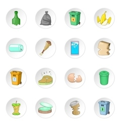 Garbage items icons set vector