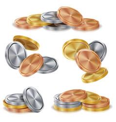 Gold silver bronze copper coins stacks vector