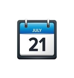 July 21 calendar icon flat vector