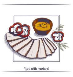 Lard with mustard vector