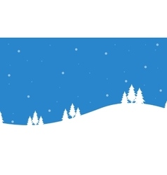 Merry christmas landscape of silhouettes vector
