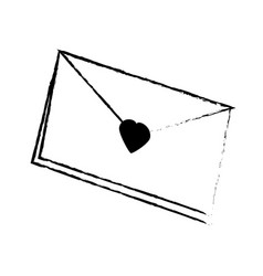 Message envelope heart letter sketch vector