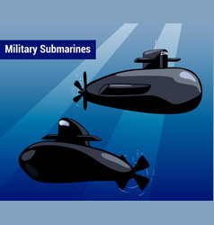 Military submarines in water black sub cartoon vector