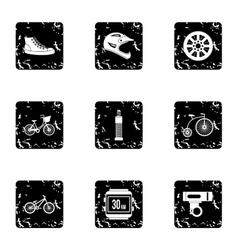 Race bike icons set grunge style vector