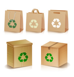 Recycling paper bags and boxes realistic blank vector
