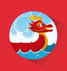 Red chinese dragon boat sea and clouds button vector