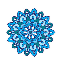Round flower mandala in blue colors vector