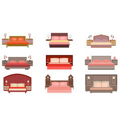 Set of pastel colors nine bed collection with vector