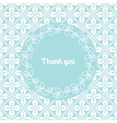 Thank you card template with floral frame vector