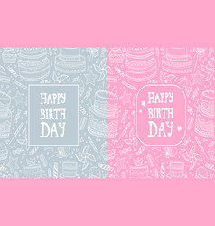 two greeting cards with hand drawn pattern vector image