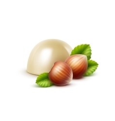 White milk chocolate candy with hazelnuts close up vector