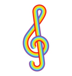 Rainbow treble clef vector