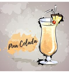 Hand drawn cocktail pina colada vector image