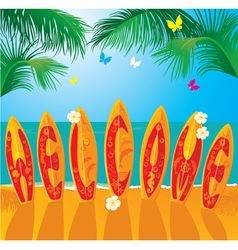 Summer holiday card - surf boards vector