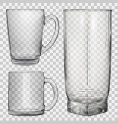 Two transparent glass cups and one glass for juice vector