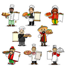 chefs icons and restaurant menu vector image