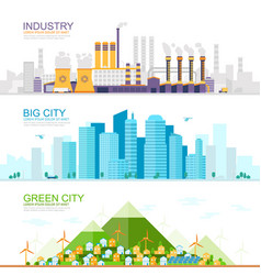 Industrial city with heavy industry and factories vector