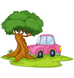 A pink car bumping the giant tree vector