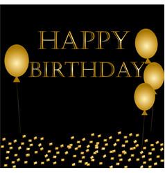 Balloons happy birthday on black vector