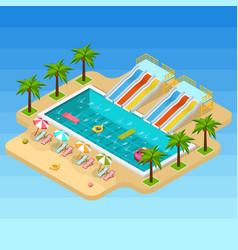 Isometric aqua park composition vector