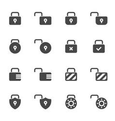 Black locks icons set vector