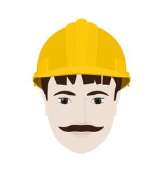 Working man in yellow hard hat vector