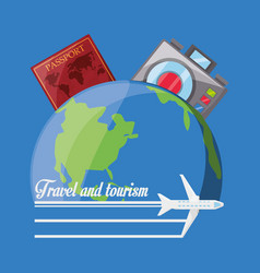 Earth planet with passport and camera vector