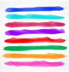 Eight watercolor brush stroke collection vector