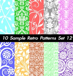 10 retro patterns textures set 12 vector