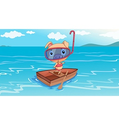 A pig riding on a boat vector