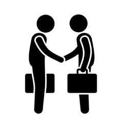 Business mans handshake greetings gesture stick vector