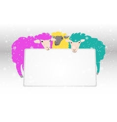 Banner with sheeps vector