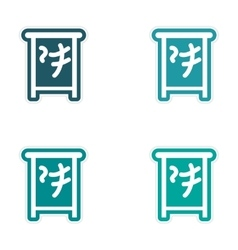 Sticker assembly japanese characters vector