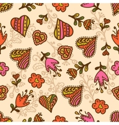 Seamless pattern hearts and flowers vector