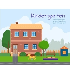 Kindergarten building with kids playground vector