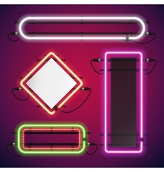 Neon lights rectangle frames set vector