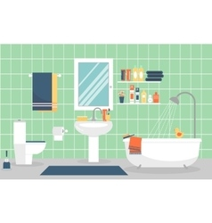 Modern bathroom interior with furniture in flat vector