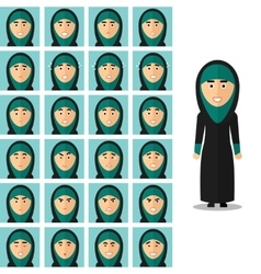 Face emotions of arab woman set in flat vector image