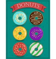 Set of tasty colorful donuts vector