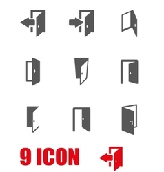 Grey door icon set vector