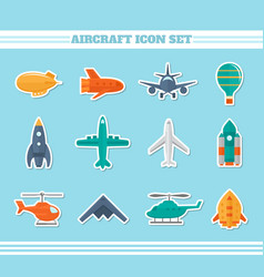 Aircraft icons stickers vector image vector image
