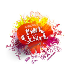 back to school sale splash with doodles vector image