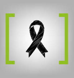 Black awareness ribbon sign black vector