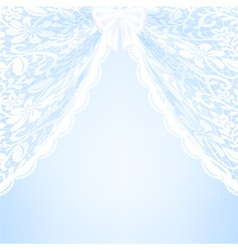 Blue bacground with lace curtains and bow vector