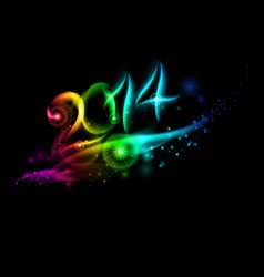 Bright new year 2014 numerals in colorful light vector