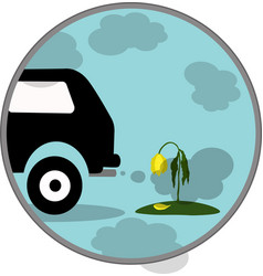 Car exhaust co2 smoke icon vector