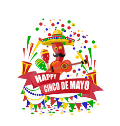 Cinco de mayo merry holiday an inscription with vector