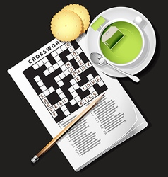 Crossword game with cup of green tea and cracker vector