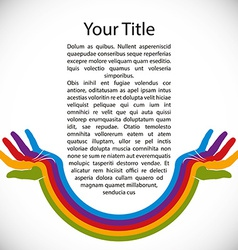 Design background with rainbow painted hands vector